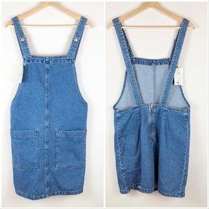 NWT ASOS Denim Overall Jumper Dress Medium Wash